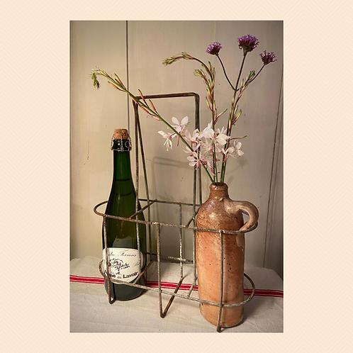 French rustic wire bottle carrier