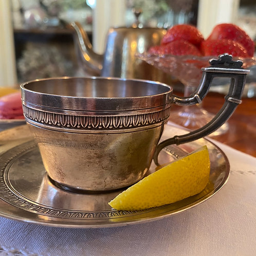 Fine quality French vintage silvered cup and saucer