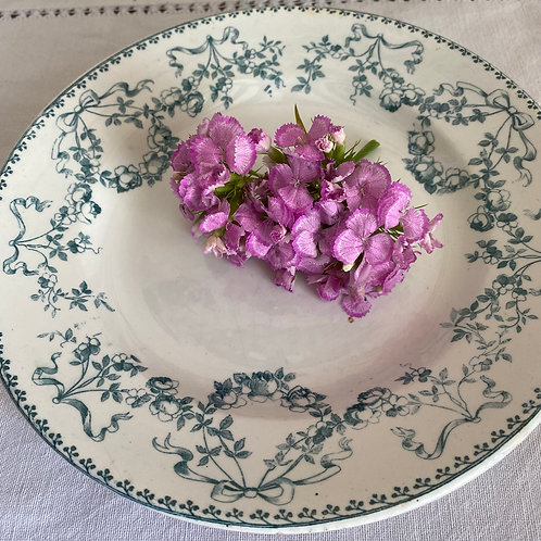 French Ironstone Sarreguemines antique footed serving plate cake stand