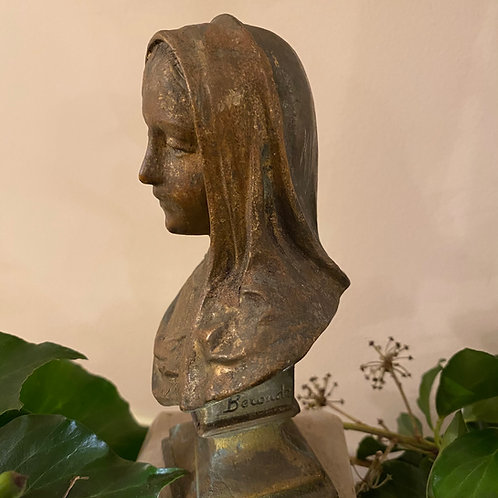 Signed French bust of Virgin Mary