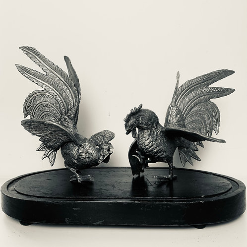 Magnificent pair of silvered French roosters