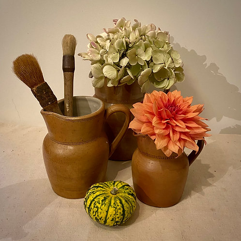 Stoneware pitchers vintage French cider jugs