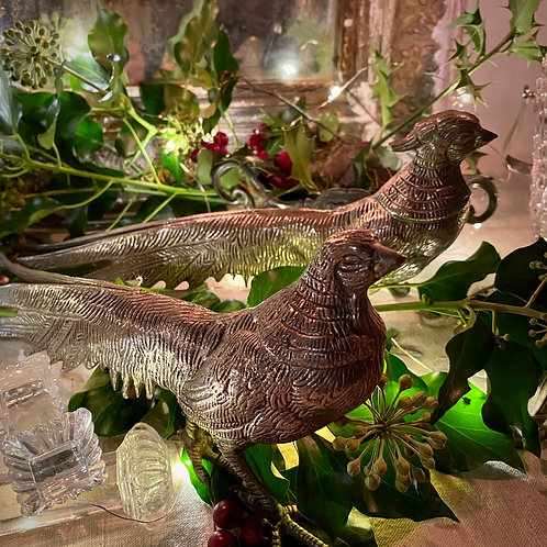 Pair of vintage silvered pheasant table decorations