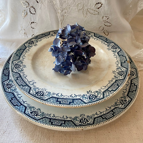 Antique cake stand and serving plate duo