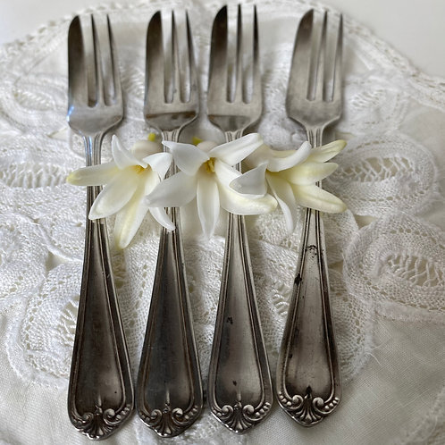Set of 4 French silver plated vintage cake forks