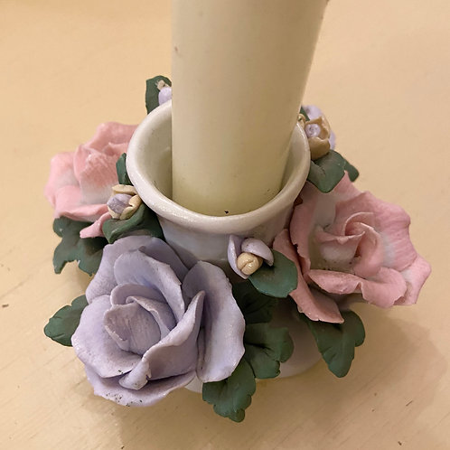 Petite bisque flower candle holder
