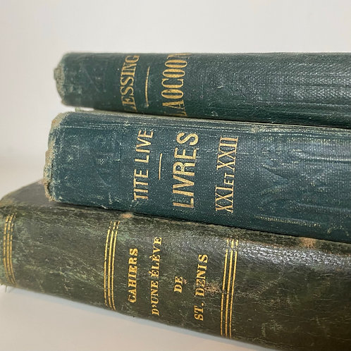 Collection of 3 French timeworn books