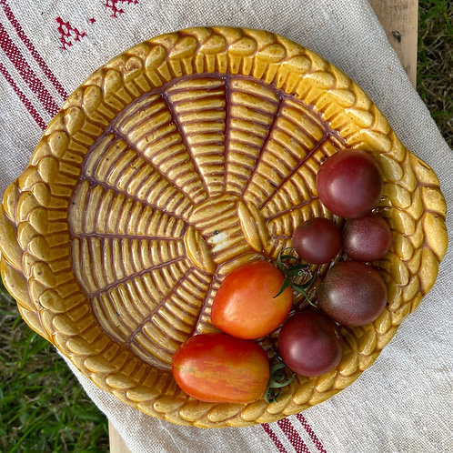 Cute vintage French basket weave pottery disH
