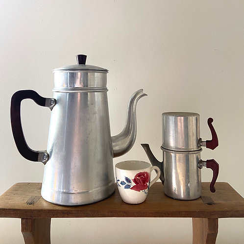 French aluminium vintage coffee and espresso coffee pots