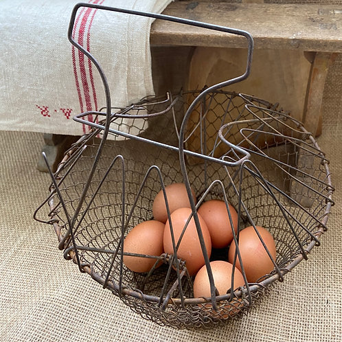 Wire egg basket rustic French vintage