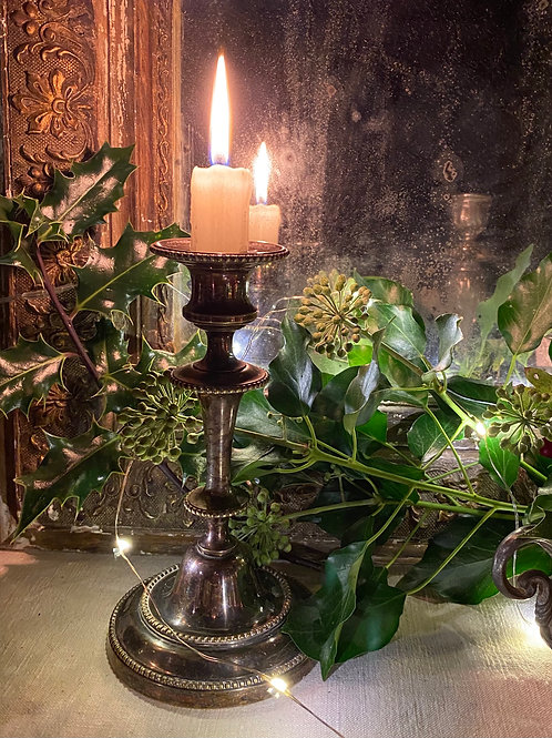 Silvered candlestick, wonderfully patinated