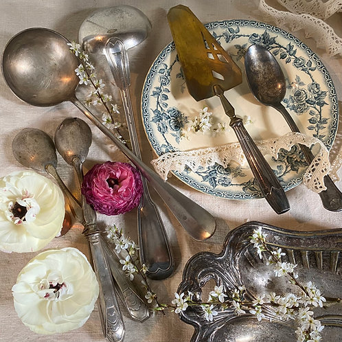 Silvered serving flatware vintage French and Christofle