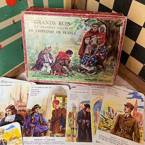 French Vintage historical figures card game