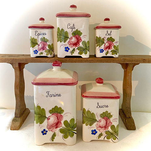 Faïence hand painted French kitchen storage pots