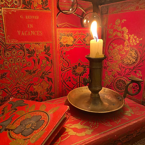 French antique books with beautiful red and gold covers