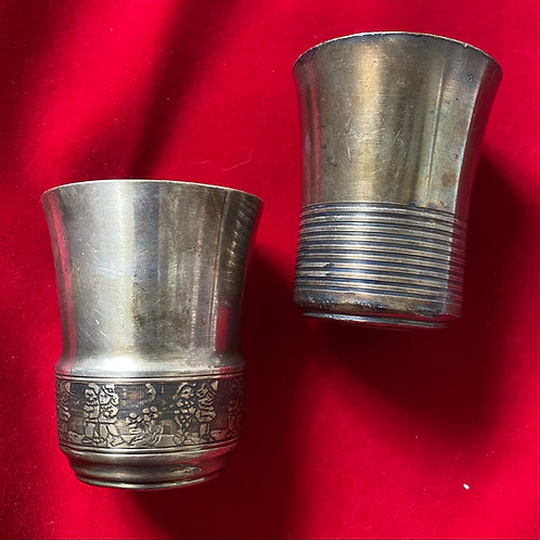 Pair of silver plated French Christening timbales