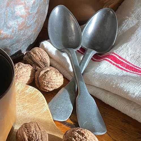 Antique French hand pressed pewter spoons