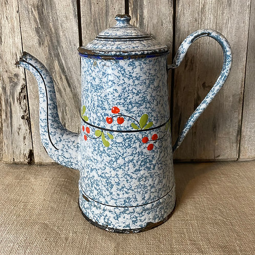 French enamel large painted coffee pot