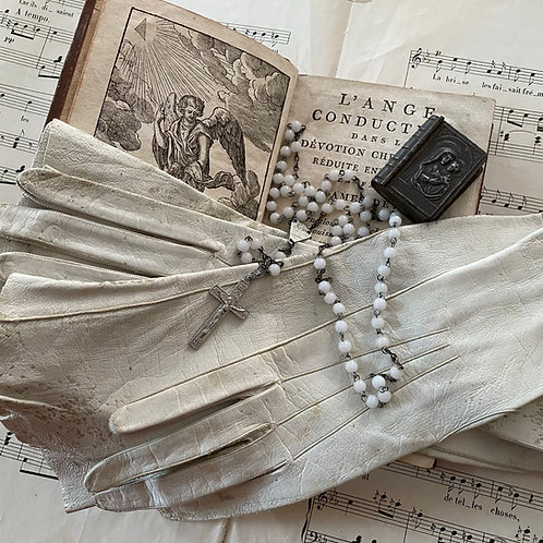 Elegant antique French long kid skin gloves