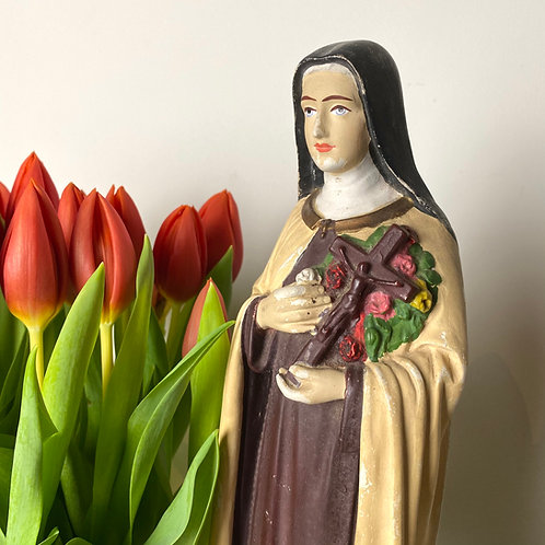 Vintage French shrine statue of Saint Therese