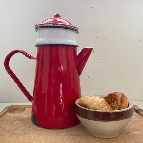 French vintage red enamel coffee pot