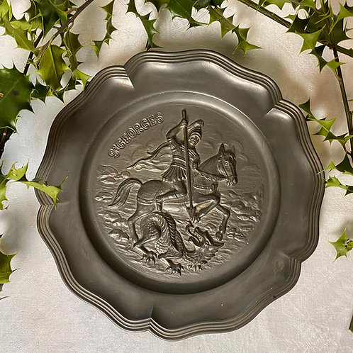 St George and the dragon pewter plate