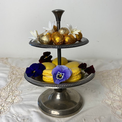 Silver plated French vintage small cake stand