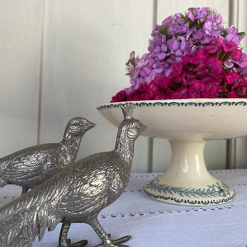 Pair of French vintage silvered pheasants