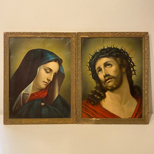 Pair of vintage portraits of Mary and Jesus in original gesso frames