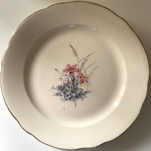Creamy MCM French Digoin footed serving plate
