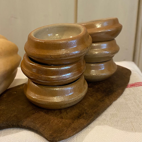 6 Normandy vintage stoneware butter pats or dipping bowls