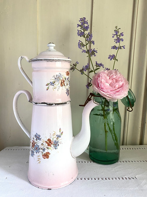 Antique French pink floral enamel coffee pot