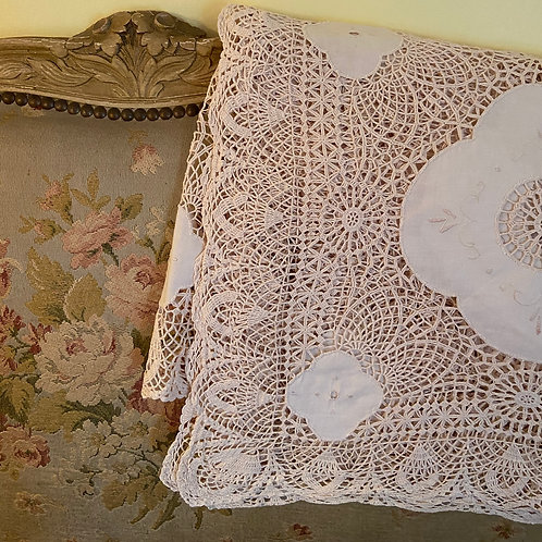Hand embroidered vintage lace bed cover
