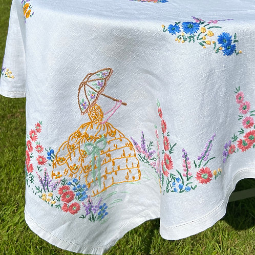 Hand embroidered vintage tablecloth