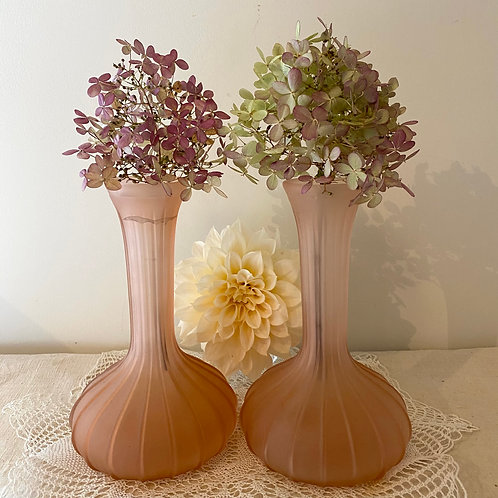 Pair pink opaque glass boudoir vases