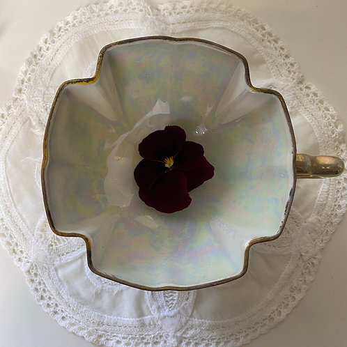 Delicate pearlescent and gilt fine bone china footed cup