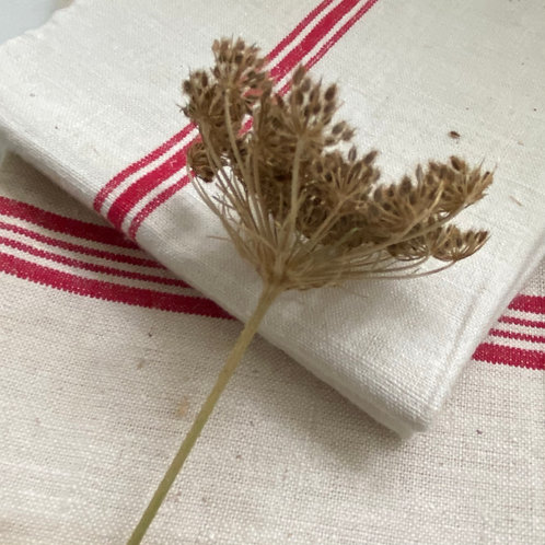 French Vintage linen red stripe torchons unused