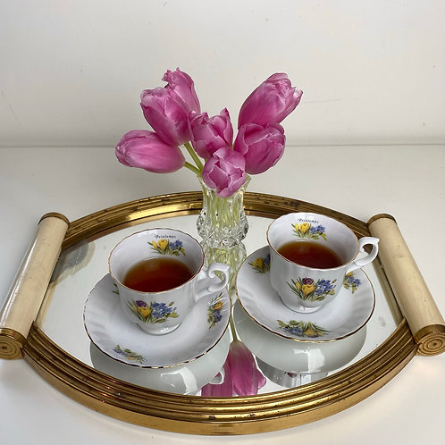French vintage porcelain spring cup and saucer set