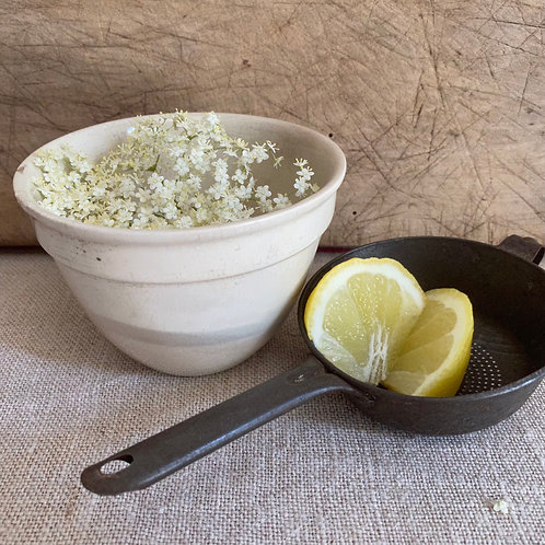 Small ironstone bowl and vintage sieve