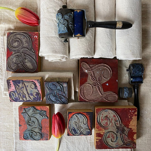 Antique French embroidery monogram stamps for trousseau linen