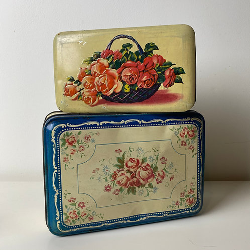 Pair of French vintage rose tins in pink, blue and cream shades
