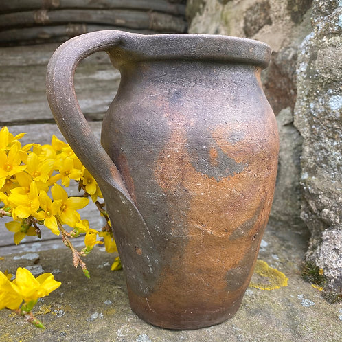 Quirky rustic French antique hand made clay pitcher