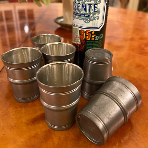 6 French shot 'glasses' set in étain pewter - great for travelling