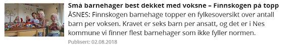 Finnskogen Barnehage med best bemanning.