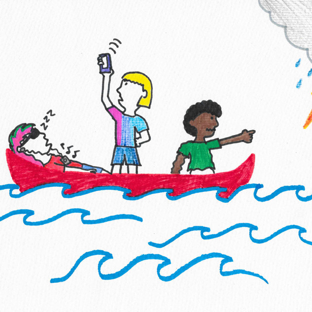 Bunch of modern people in an old canoe by Emily, 37.jpg