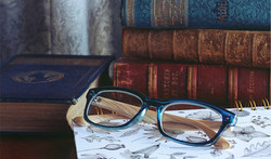 glasses and books
