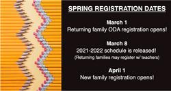 ODA Spring Registration Dates 2021