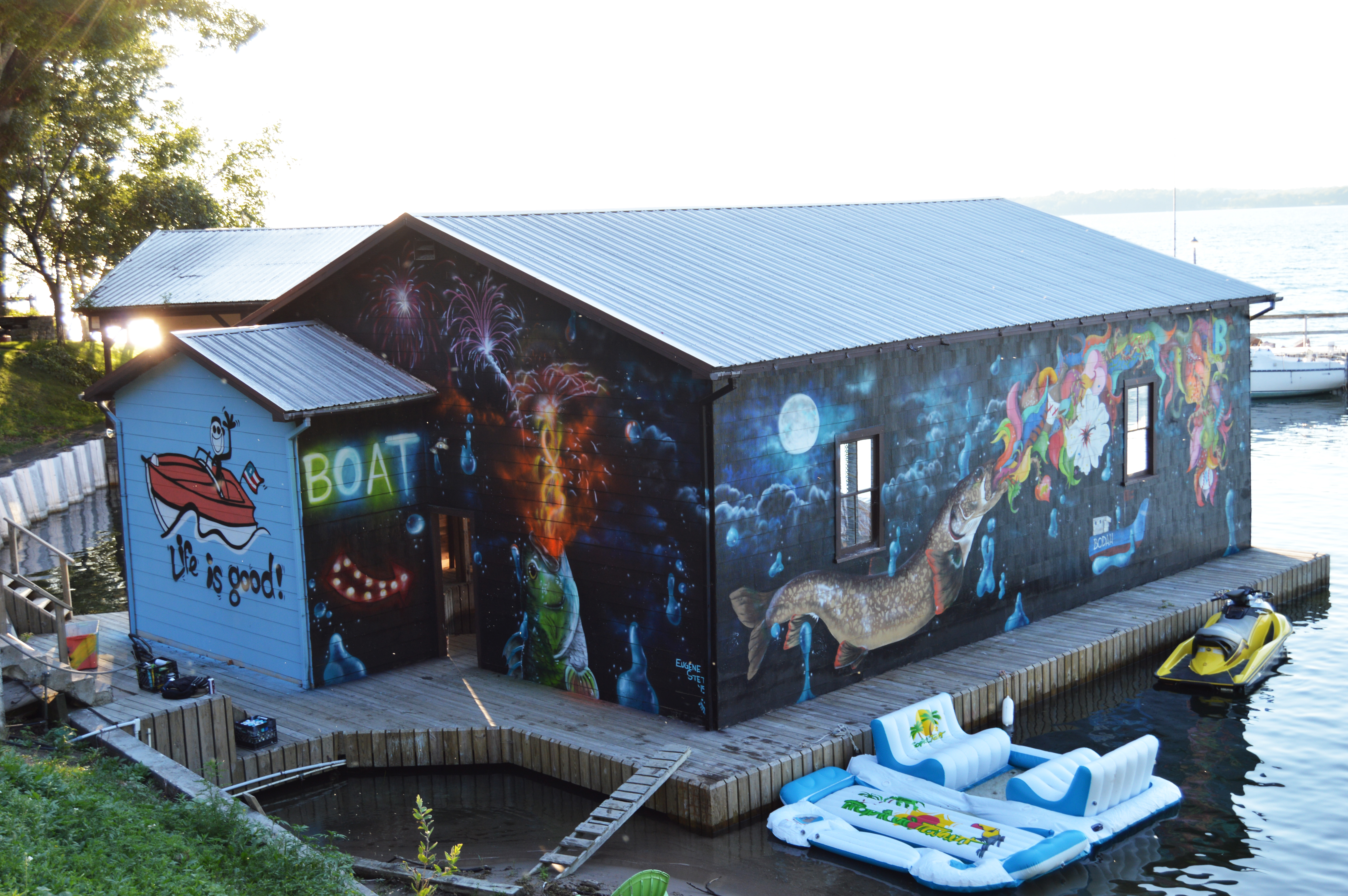 boathouse painted in Canada