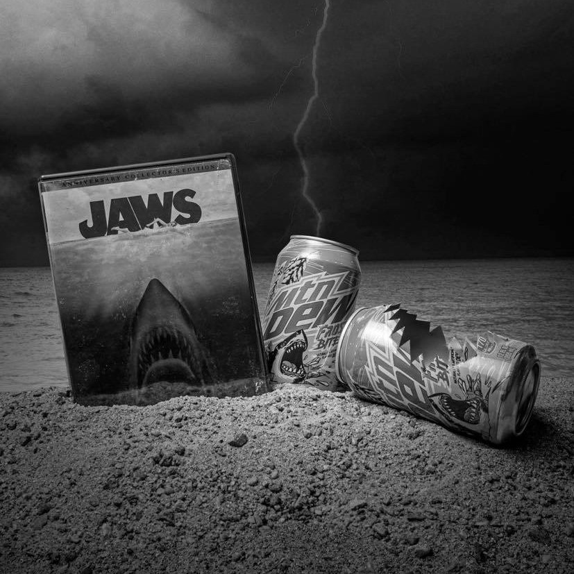Jaws DVD and Mountain Dew Can