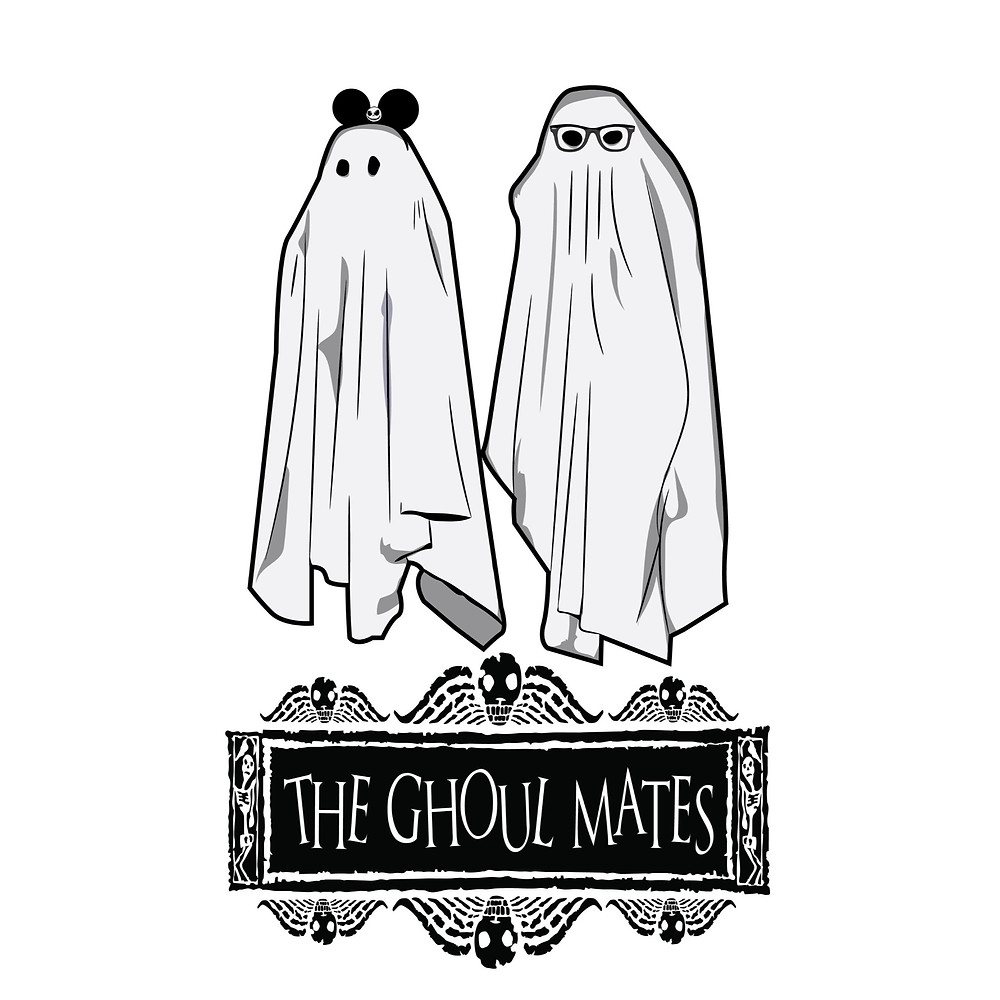 A girl ghost wearing Mickey ears and a boy ghost wearing Ray Bans.